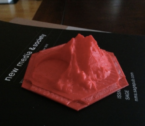 I made that! A 3D gamepiece for the Settlers of Catan boardgame, printed in ABS plastic on a Makerbot Replicator 2.