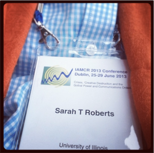 My IAMCR badge, marking the lat time I'll be wearing a University of Illinois affiliation.